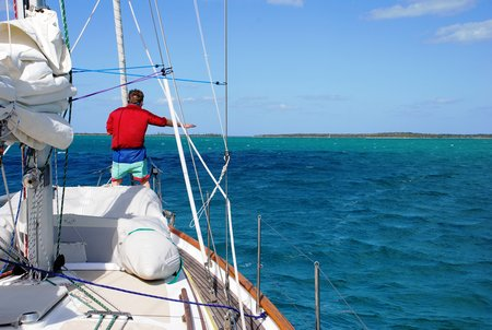 April 2012 Dream SeQueL Trip 075 -Frank guiding Jim away from any dangerous rocka when anchoring near Crab Cay in the Sea of Abaco