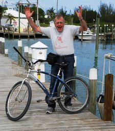 April 2012 Dream SeQueL Trip 137 -Frank being silly on the dock with his rental bike