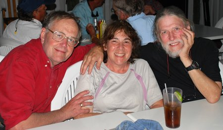April 2012 Dream SeQueL Trip 164 -Frank, Barbara, and Jim at dinner at Snappas Bar and Grill in Marsh Harbour, Bahamas